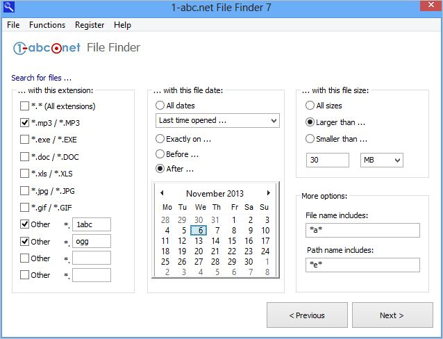 1-abc.net File Finder screenshot: file,files,search,find,finder,path,paths,extension,extensions,da