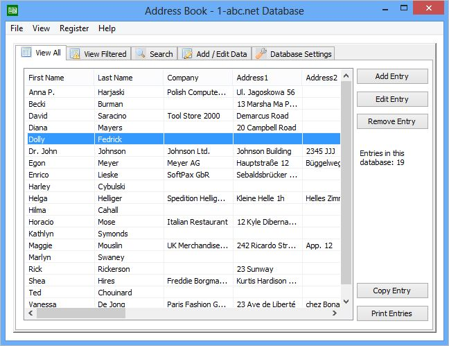 Click to view 1-abc.net Database 1.00 screenshot